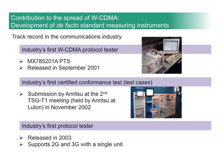 Contribution to the spread of W-CDMA: Development of de facto standard measuring instruments