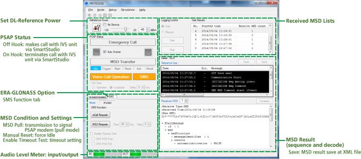 eCall Tester User Interface
