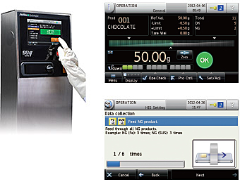 Both metal detector and checkweigher are controlled by the standard touch screen control panel